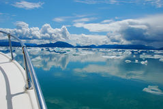Icy sky. Boating amongst ice burgs on a sunny day in Southeast Alaska Stock Photo