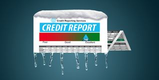 An icy, snow covered credit report in a snowstorm illustrates the idea of freezing your credit report. stock images