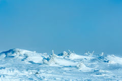 Icy snowy winter hill. Stock Images