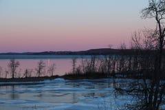 Icy solnedgång Fotografering för Bildbyråer