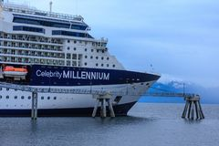 Celebrity Millenium Docked in Alaska. ICY STRAIT, ALASKA - May 30, 2016:  The Icy Strait is a strait in the Alexander Archipelago in southeastern Alaska.  The royalty free stock images