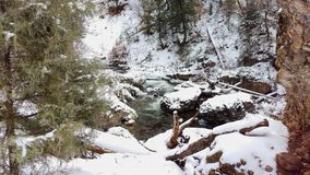 An Icy Stream Flowing Across a Frozen Landscape. Fifth water hot springs trail, Utah, US royalty free stock photo
