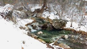 An Icy Stream Flowing across a Frozen Landscape Stock Photo
