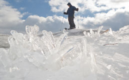Icy Summit. Hiker reaches the summit of Mount Watatic, Massachusetts--despite recent ice storm Royalty Free Stock Image
