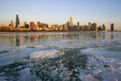 Icy sunrise in Chicago Royalty Free Stock Photo