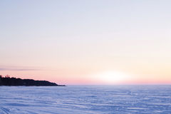 Icy surface of the Ladoga lake Royalty Free Stock Images
