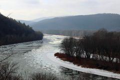 Icy Susquehanna River. The icy Susquehanna River flowing through the valley stock images
