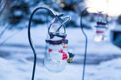 Icy tree braches and icy snowman Stock Images