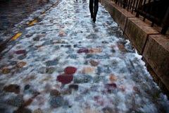 Icy trottoar arkivbild