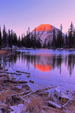 Icy Uinta Mountain reflection. Amazing sunset landscape in the Uinta Mountains, Utah USA Royalty Free Stock Photo