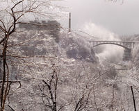 Icy Urban River Gorge.  Horizontal Orientation. Royalty Free Stock Photos