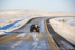 icy väg för bil royaltyfri foto