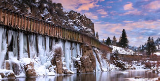 Icy Water Flumes Sunset Stock Image