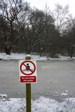 Icy water warning sign Stock Image
