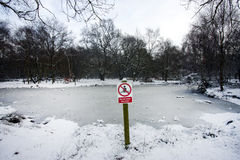 Icy water warning sign Royalty Free Stock Image