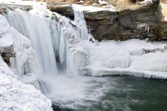 Icy waterfall. Icy winter Lumbrick Falls at Lumbrick, Alberta Royalty Free Stock Photos
