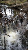 Icy waterfall. Waterfall with icicles hanging of a branch Stock Images