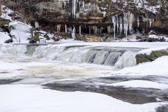 Icy Waterfall at Plum Creek Stock Photos