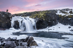 An icy waterfall during sunrise in Iceland. A cold snowy waterfall in the highlands of Iceland framed by pastel skies and rugged terrain offers scenic landscape Stock Photo