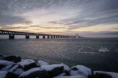 Icy waters by the Øresund Bridge Royalty Free Stock Photos