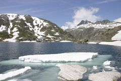 Icy waters. In Switzerland, this reservoir in the summer still looks very cold Royalty Free Stock Photography