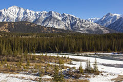 Icy Waters of the Bow River in Banff Stock Photography