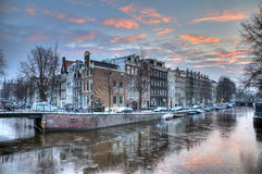 Icy winter canal Stock Photo