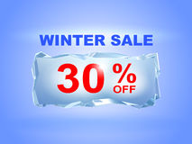 Icy winter sale banner to the specified percentage on a piece of. Ice. Vector illustration. Design element for commerce Royalty Free Stock Photo