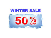 Icy winter sale banner to the specified percentage on a piece of. Ice. Vector illustration. Design element for commerce Royalty Free Stock Images