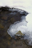 Icy Winter Stream. Ice and snow next to flowing stream with rocks and water Royalty Free Stock Photography