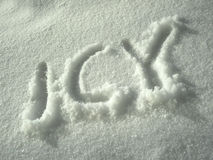 Icy written in white snow Royalty Free Stock Images