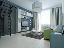 Idé av den moderna vardagsrummet med ribbstol Royaltyfri Bild