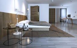 Idé av det minimalist sovrummet Arkivbilder