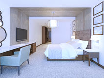 Idé av det moderna ledar- sovrummet Arkivfoton