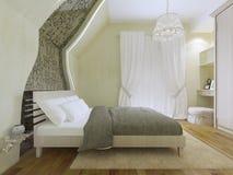Idé av det moderna sovrummet med balkongingången Royaltyfri Fotografi