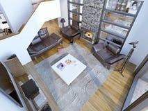 Idé av modernt hög-tak vardagsrumrum Fotografering för Bildbyråer