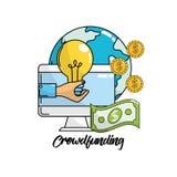 Idé för global affär med myntkassapengar Arkivbild