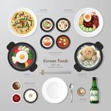 Idé för lägenhet för Infographic Korea foodsaffär lekmanna- vektor illustrationer