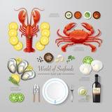 Idé för lägenhet för skaldjur för Infographic mataffär lekmanna- vektor Arkivfoton