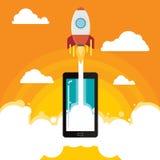 Idé för raketaffärsmobil Fotografering för Bildbyråer
