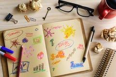 Idé för stadsplanerare och för strategi för marknadsföring för affärsmanskrivbordkontor Royaltyfria Bilder
