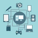 Idé för teknologianslutningsbegrepp i plan stil Arkivfoto