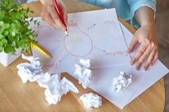 Idé Idérik arbetsplats med skrynkla av ark Affär Top beskådar arkivfoton