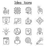 Idé som är idérik, innovation, inspirationsymbolsuppsättning i den tunna linjen st royaltyfri illustrationer