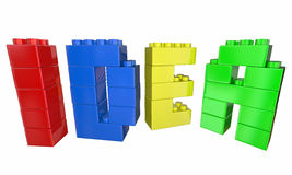 Idé Toy Blocks Building Letters Word Arkivbilder