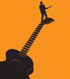 Idéal graphique de guitare peu commune pour des annonces de yole Images stock