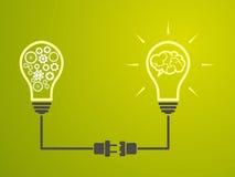 Idébegrepp - glödande lampor är förbundna stock illustrationer