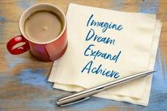 IDÉbegreppet - föreställ, drömma, utvidga, uppnå arkivbild