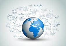 Idébegreppsorientering för idékläckning- och Infographic bakgrund Arkivfoton