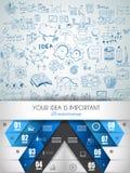 Idébegreppsorientering för idékläckning- och Infographic bakgrund Royaltyfri Foto